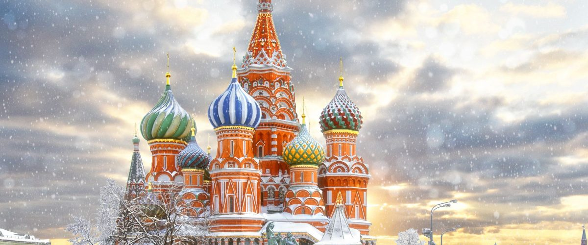 Moscow, Russia, Red square, view of St. Basil's Cathedral, Russian winter (c) Eurasia