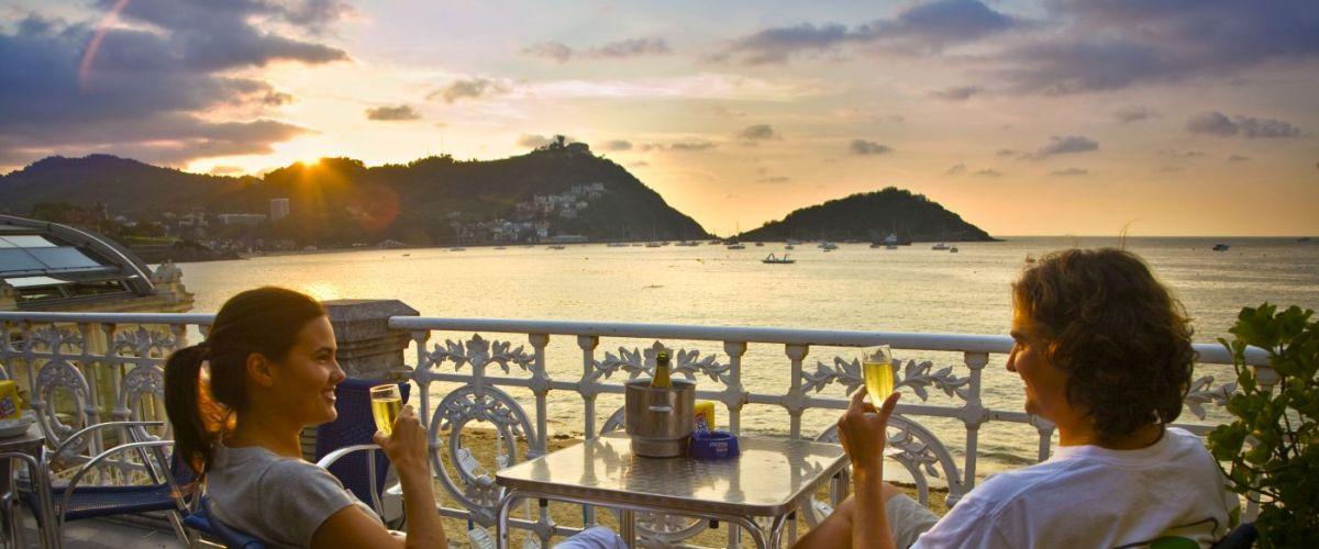 Cafe terrace. La Concha beach. San Sebastian. Donostia. Gipuzkoa.Guipuzcoa