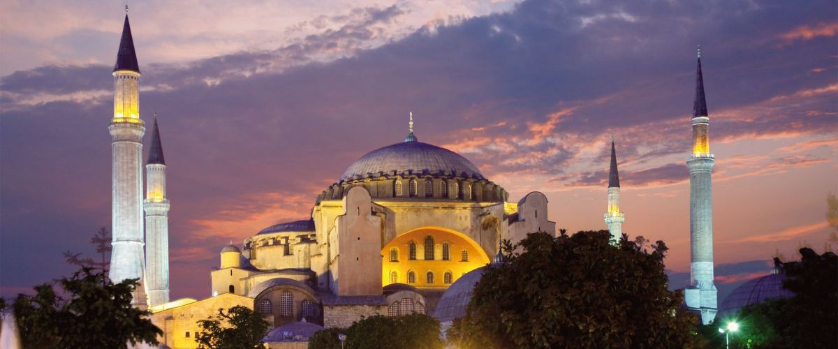 Hagia Sophia in Istanbul at evening