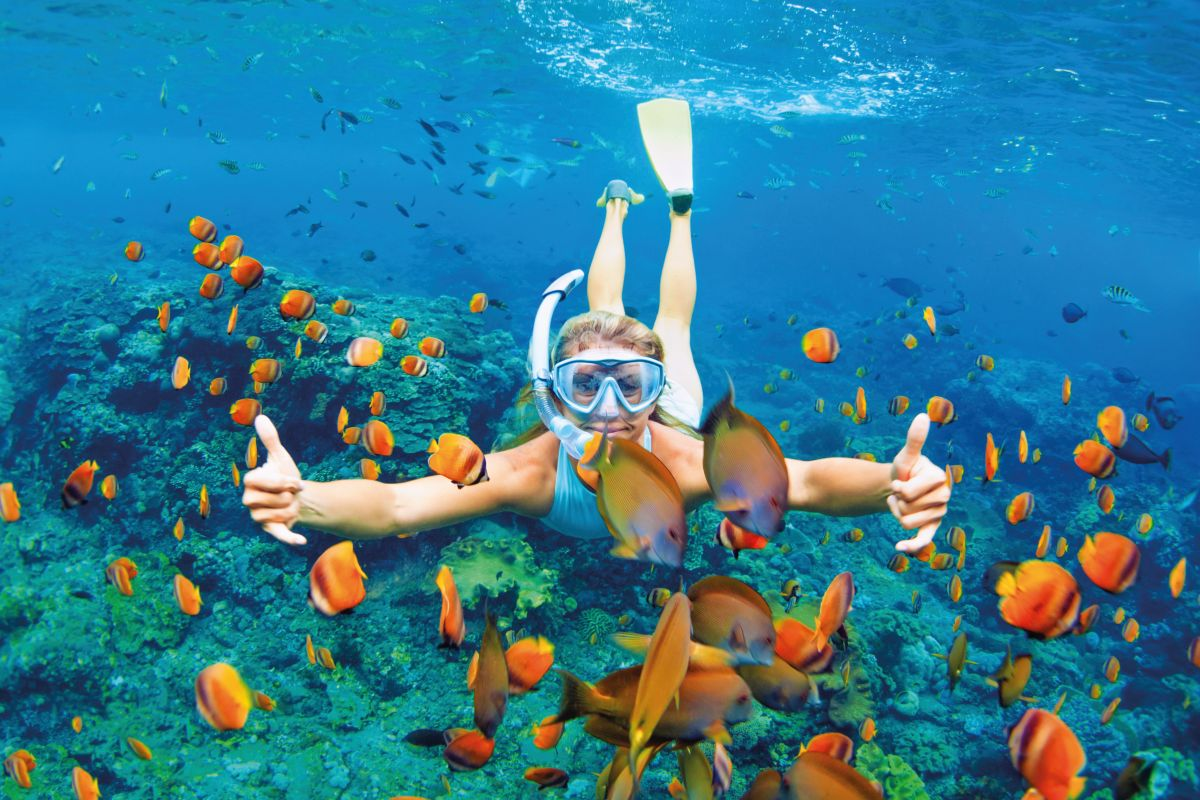 Happy family - girl in snorkeling mask dive underwater with trop
