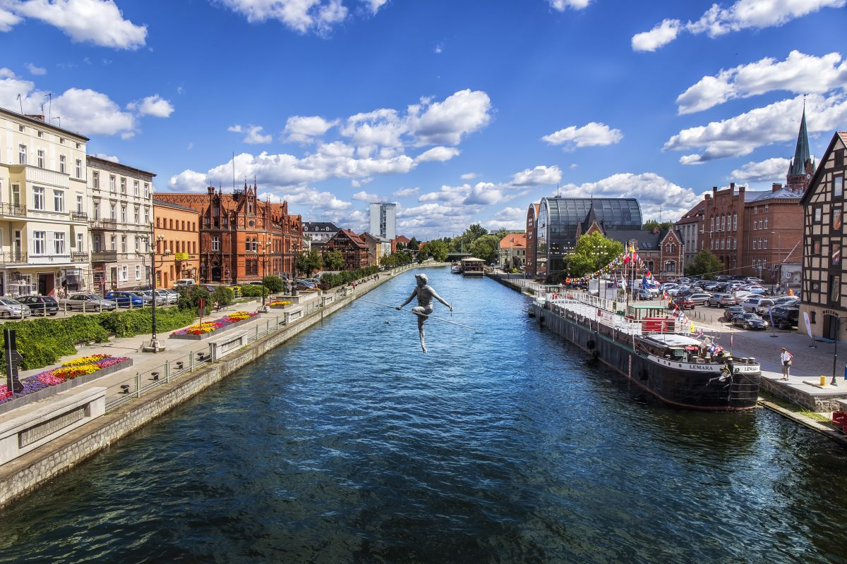 View of Brda river in Bydgoszcz, Poland