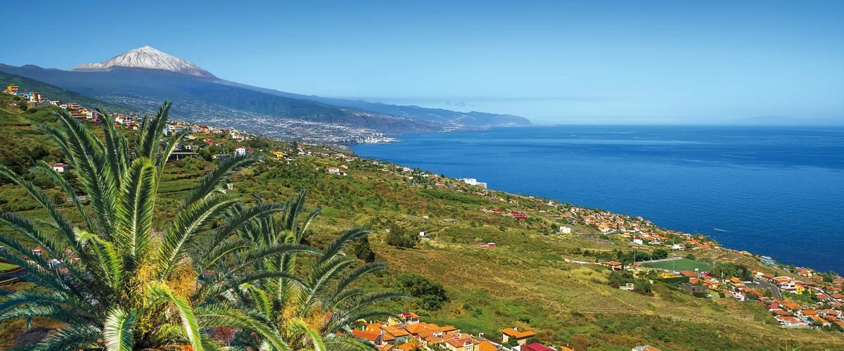 Teide National Park with La Palma island on the background. Tene