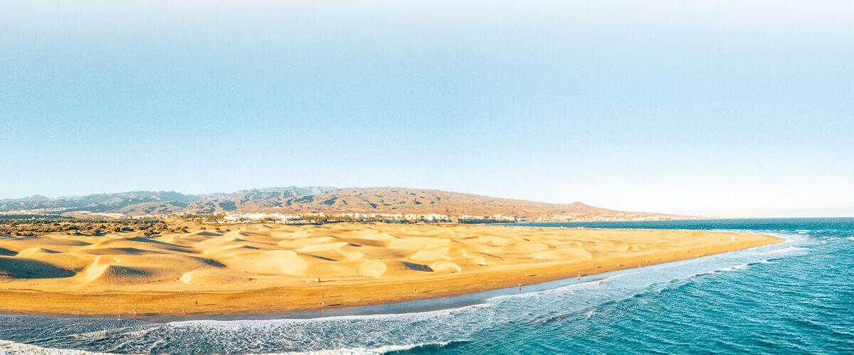 Aerial Maspalomas dunes view on Gran Canaria island near famous